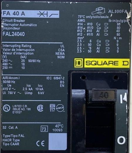 Square D FAL24040-CL