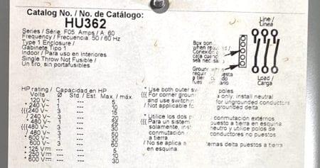 Square D HU362-NIB
