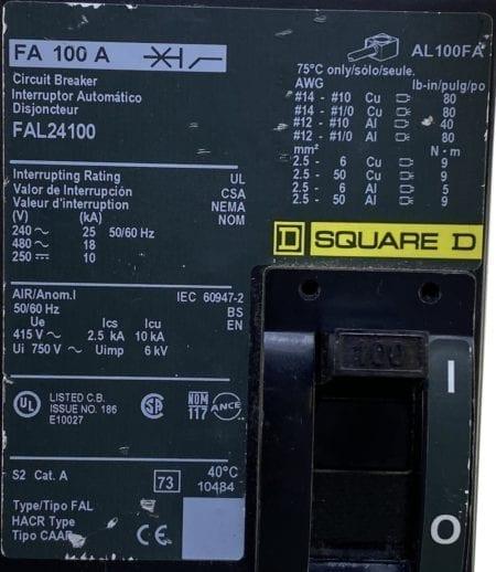 Square D FAL24100-CL