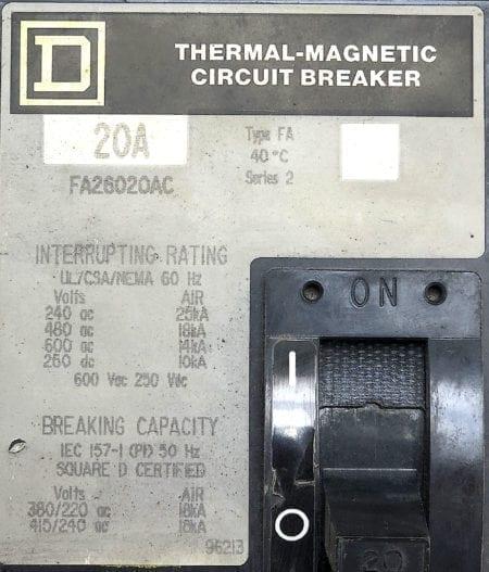 Square D FA26020AC-GL