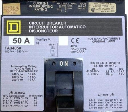 Square D FA34050-NML-GL-LIR