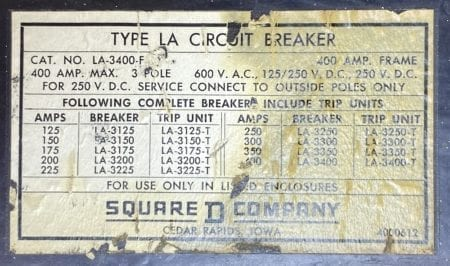 Square D LA3400F