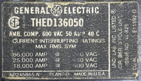 General Electric THED136050-BF