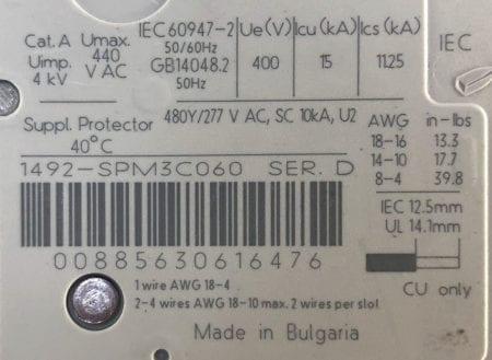 Allen Bradley 1492-SPM3C060