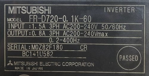 Mitsubishi Electric FR-D720-0.1K-60