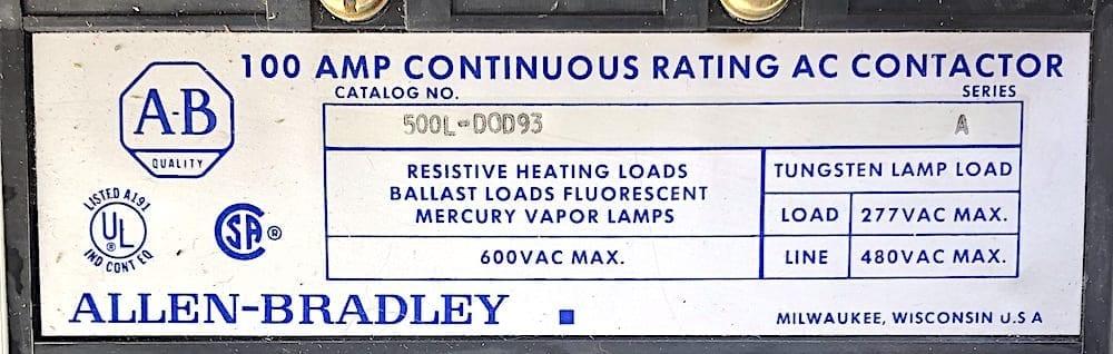 Allen Bradley 500L-D0D93