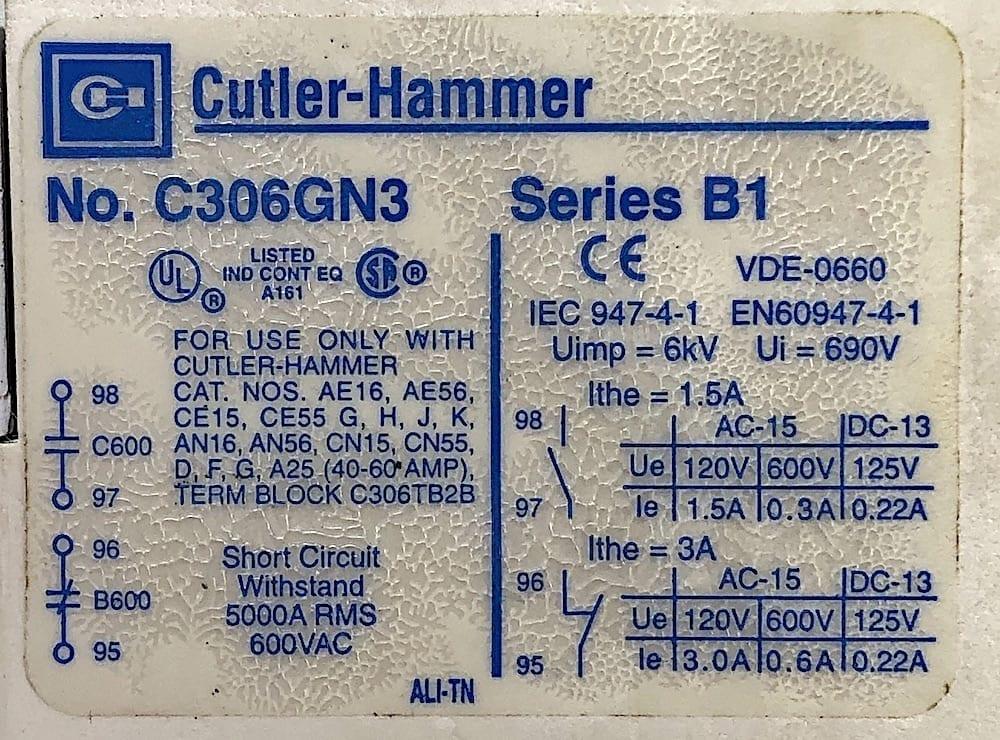 Cutler Hammer Starter AN16GN0 Series B1 Size 2  120 Volt Coil