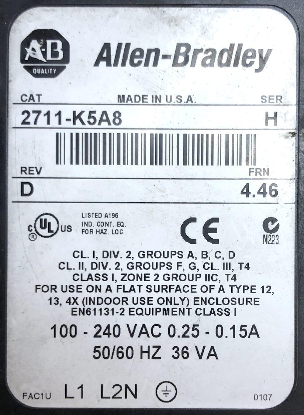 Allen Bradley 2711-K5A8
