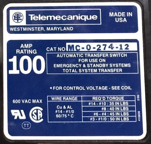 Telemecanique MC-0-274-12-NIB