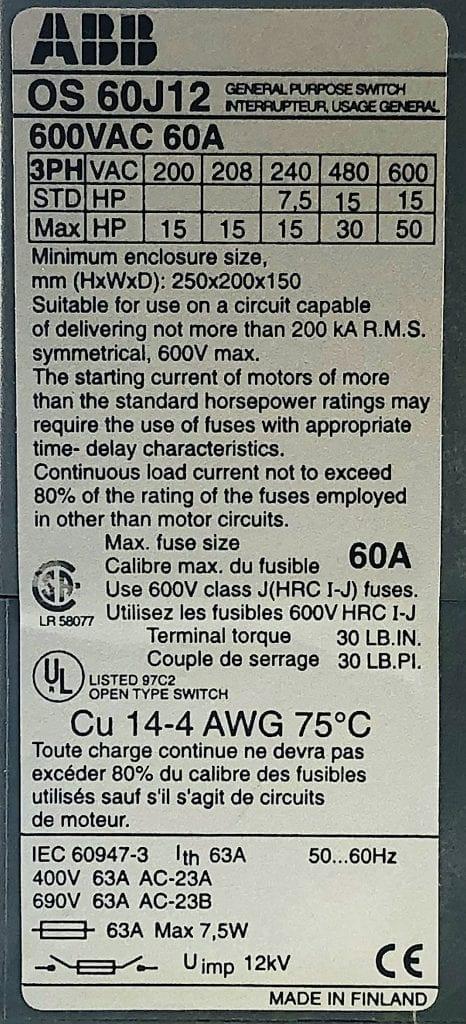 ABB OS-60J12
