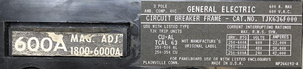General Electric TJK636F000-600-BF