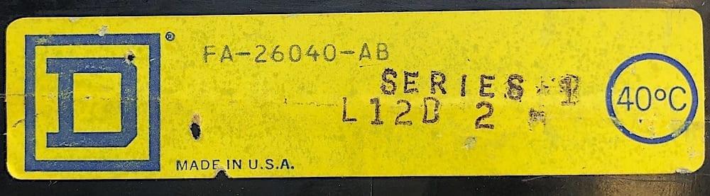 Square D FA26040AB-BF