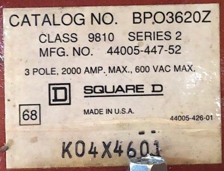 Square D BPO3620Z-2000