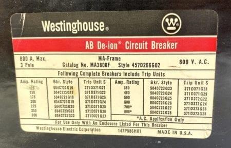 Westinghouse MA3800F-600