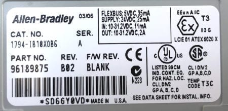Allen Bradley 1794-IB10xOB6-B02
