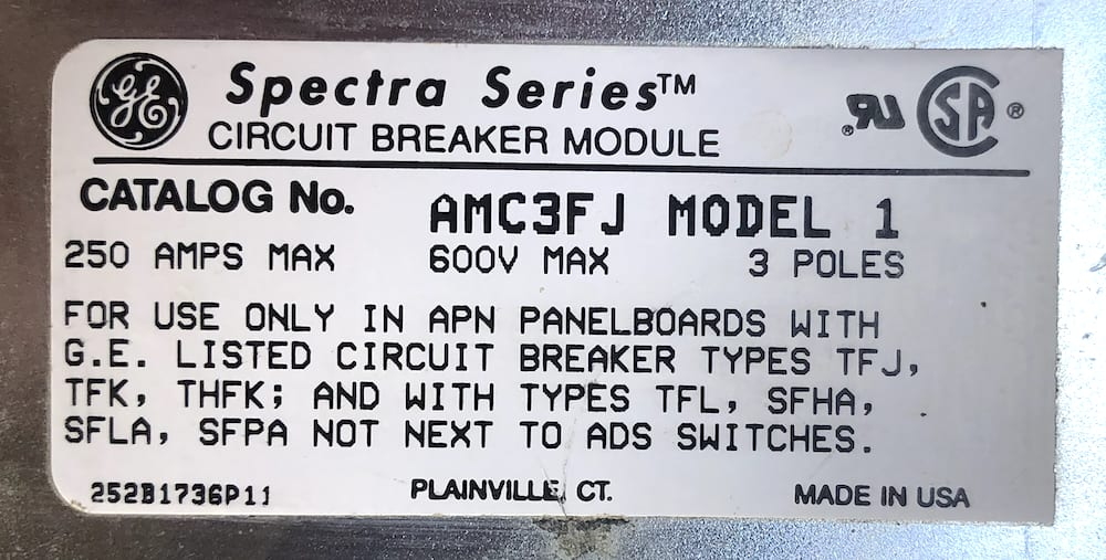 General Electric AMC3FJ 3Pole 250A 600V Spectra Circuit Breaker Module