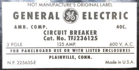 General Electric TFJ236125-NML-125