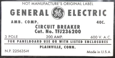 General Electric TFJ236200-NML-200