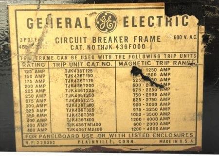 General Electric THJK436F000-BF-250