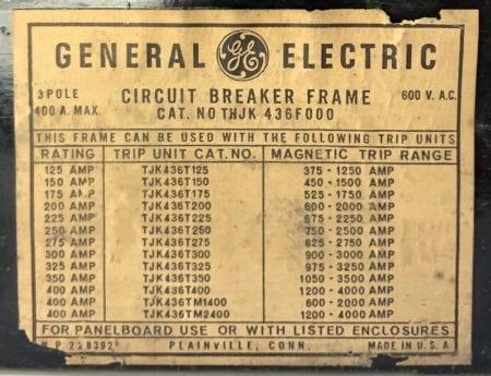 General Electric THJK436F000-BF-400