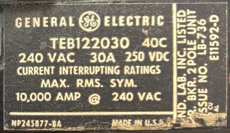 General Electric TEB122030-BF