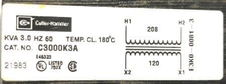 Cutler Hammer C3000K3A