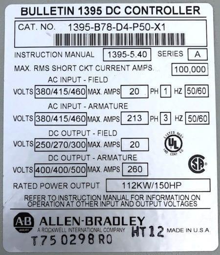 Allen Bradley 1395-B78-D4-P50-X1