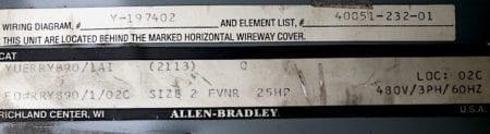 "Allen Bradley YUERRY890/1AI-12"""