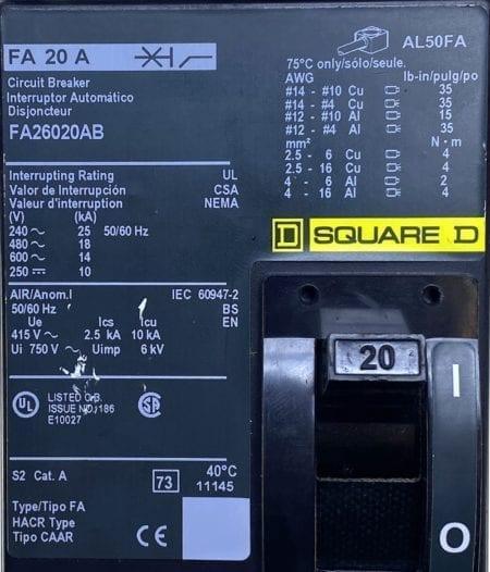 Square D FA26020AB-CL