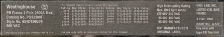 Westinghouse PB32500F-2000-NML