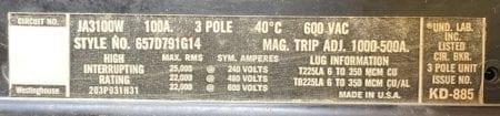 Westinghouse JA3100W-100
