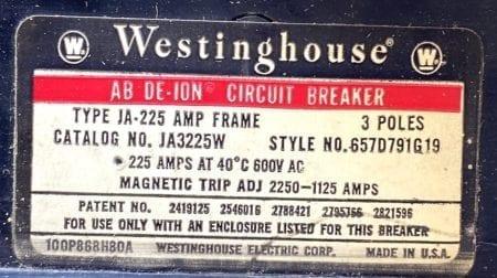 Westinghouse JA3225W-225