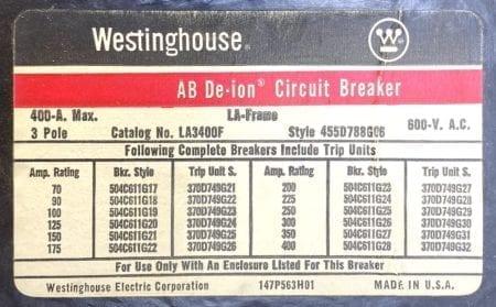 Westinghouse LA3400F-400