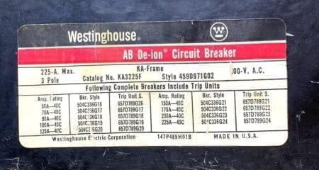 Westinghouse KA3225F-100
