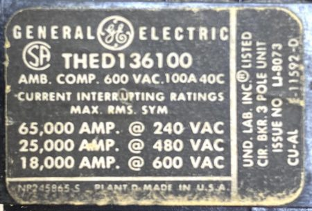 General Electric THED136100-BF