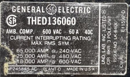 General Electric THED136060-BF