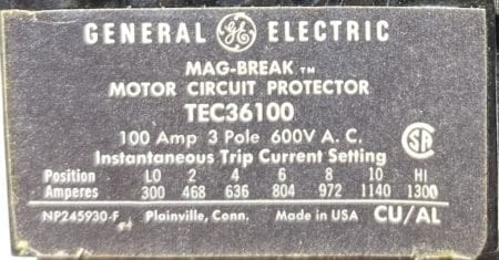 General Electric TEC36100-BF