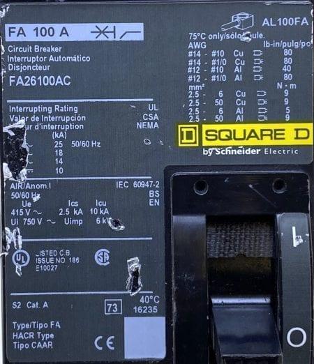 Square D FA26100AC-CL