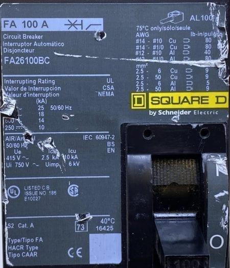 Square D FA26100BC-CL