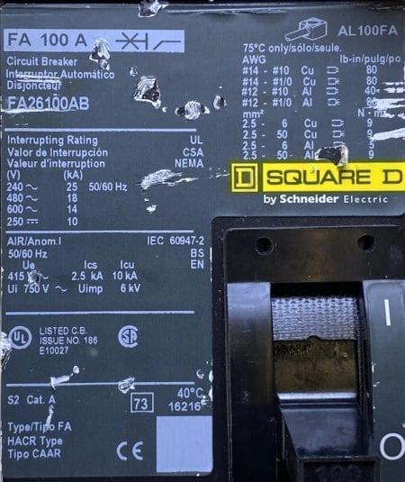 Square D FA26100AB-CL