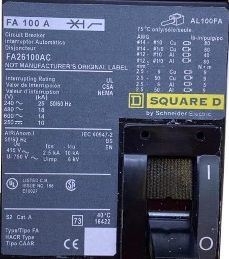 Square D FA26100AC-NML-CL