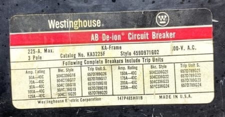 Westinghouse KA3225F-225