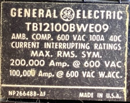 General Electric TB12100BWE09