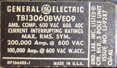General Electric TB13060BWE09