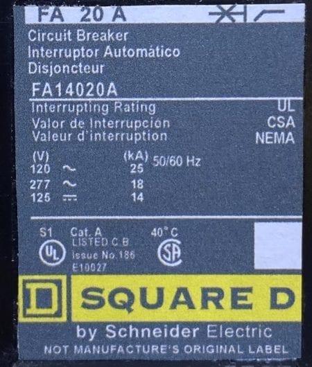 Square D FA14020A-NML-CL