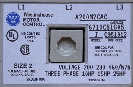 Westinghouse A200M2CAC-120-NML