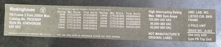 Westinghouse PB32500F-1200-NML