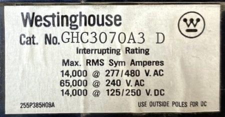 Westinghouse GHC3070A3D-AUX
