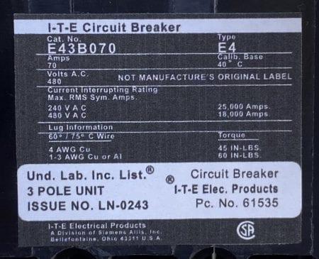 ITE E43B070-NML