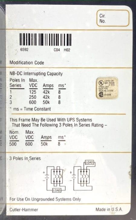Cutler Hammer NBDC31200MW-NML-AUXx2-UV